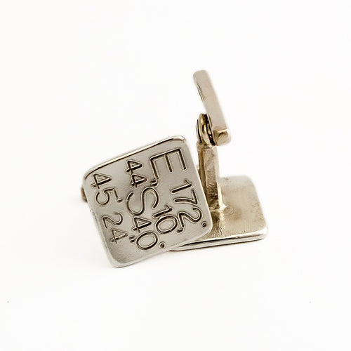 Custom GPS Silver Handmade Cuff-Links NZ jewellery by Martyn Milligan, Rinopai Golden Bay