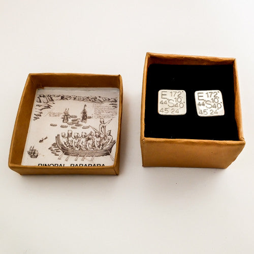 Silver Cufflinks, custom GPS engraved, by martyn milligan jewellery nz