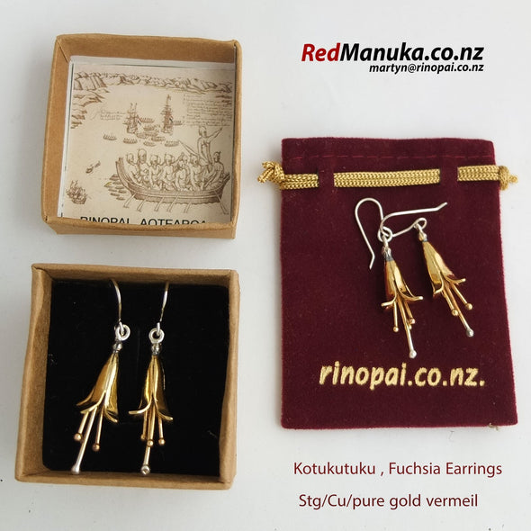 kotukutuku Fuchsia sterling Silver earrings Gift boxed by martyn milligan rinopai golden bay