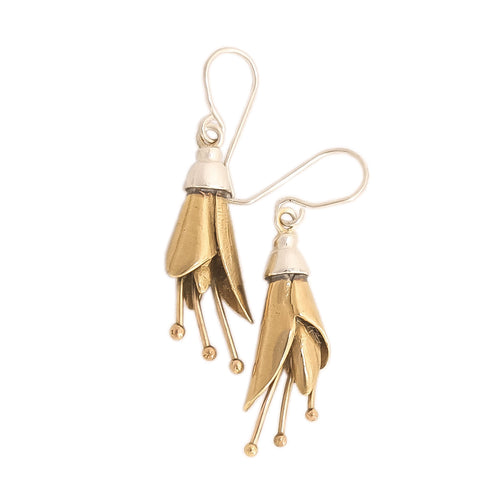 Kowhai Earrings, Large flowers, Silver dipped in Gold by nz jewellery designer Martyn Milligan