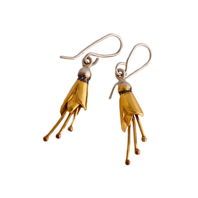 Kōwhai Earrings, Silver dipped in Gold by nz jewellery designer Martyn Milligan