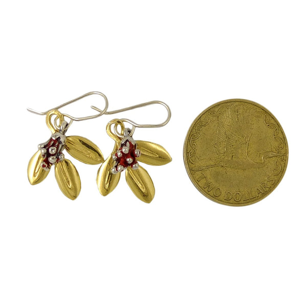 Pōhutukawa Bud and Silver Leaf Earrings