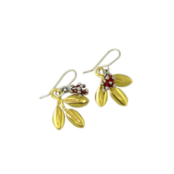 Pōhutukawa Bud and Gold Leaf Earrings