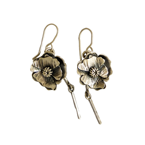Poppy Flower with stems Earrings | nz jewellery | Redmanuka, silver earrings