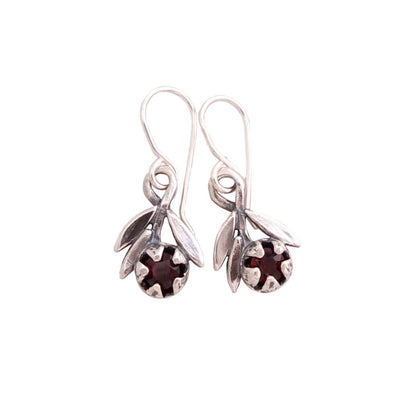 RedMānuka Sprig with Garnet Silver Earrings | nz jewellery | Redmānuka