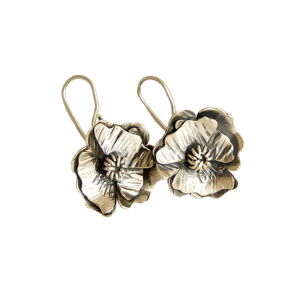 Poppy Flower Earrings | nz jewellery | Redmanuka, silver earrings