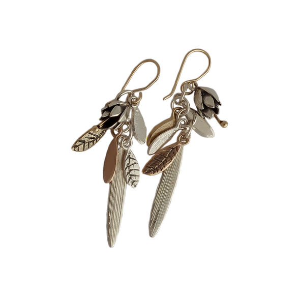 Springs Promise Gold and Silver Earrings, by jewellery nz designer Martyn Milligan