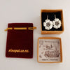 Kanuka Flower Earrings | nz jewellery | Redmanuka, silver earrings with garnet centres gift boxed