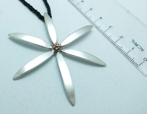 Flower Silver and Gold Necklace, showing ruler measure, by jewellery nz designer Martyn Milligan