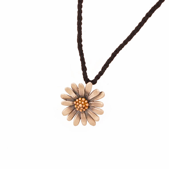 Jewellery NZ | Daisy Necklace | Redmanuka, on hand plaited black chord