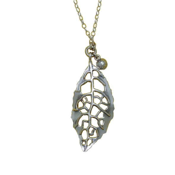 Back view of Heketara Silver Leaf | pendant necklace | nz jewellery