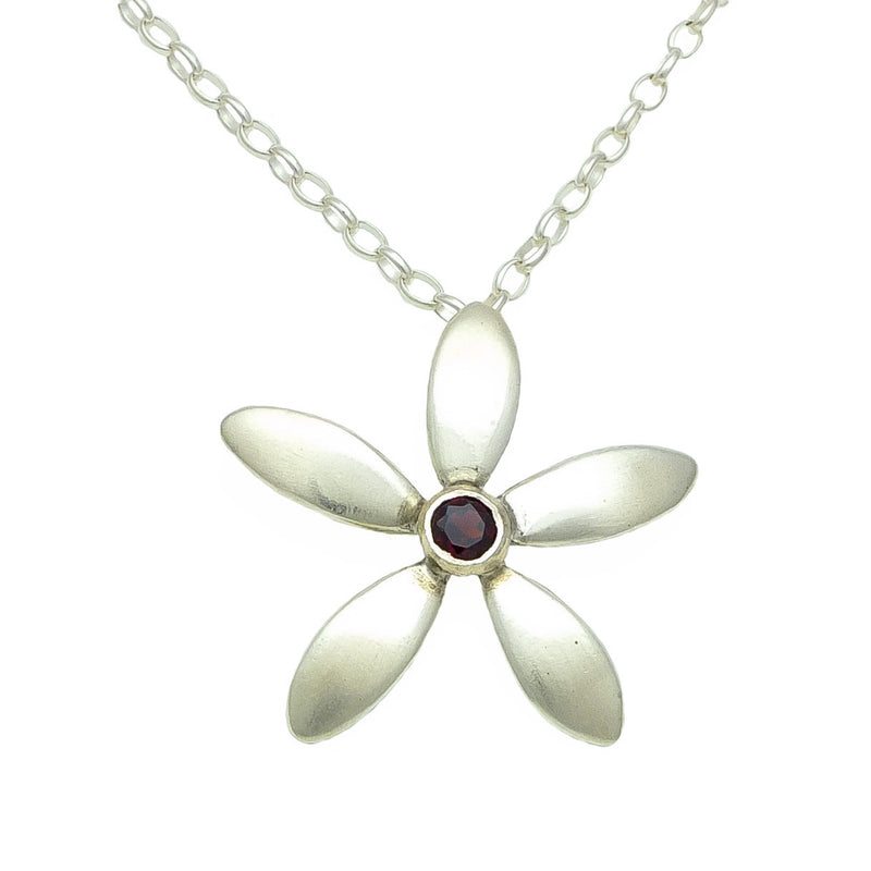 Jewellery NZ | Jasmine Silver Flower Necklace on stirling silver chain | Redmanuka