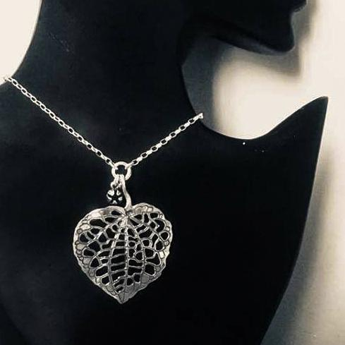 pendant necklace on bust Kawakawa Silver Leaf | pendant necklace | nz jewellery
