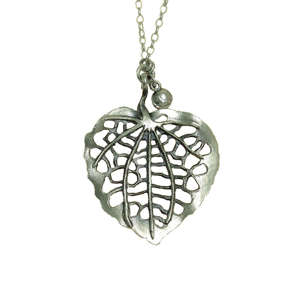 Reverse of Kawakawa Silver Leaf | pendant necklace | nz jewellery
