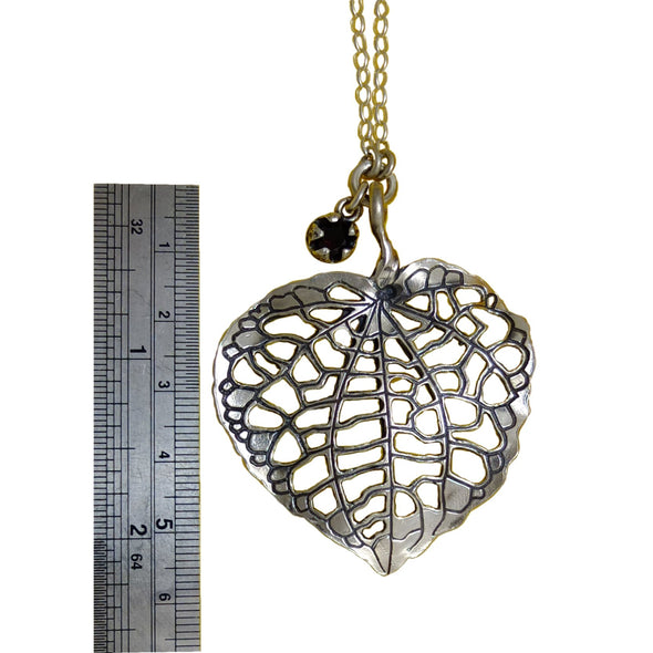 ruler shows size Kawakawa Silver Leaf | pendant necklace | nz jewellery