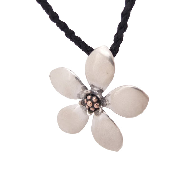 Mānuka Flower Necklace on black chord | Jewellery nz | Redmanuka