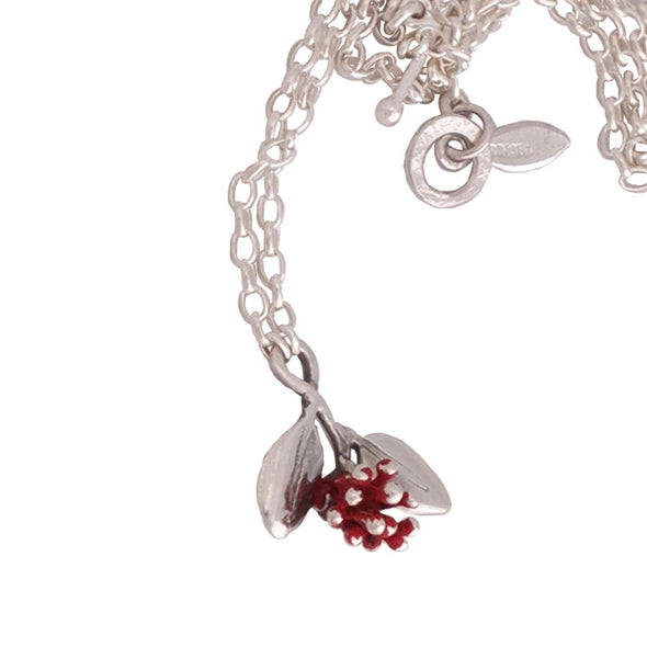 Pohutukawa Blossom Silver Necklace with sterling silver chain and handmade clasp,  nz jewellery by Martyn Milligan for Redmanuka