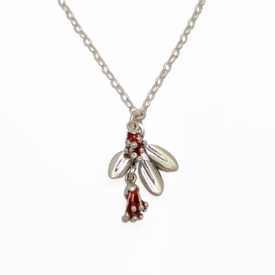 Pohutukawa Blossom and leaf  Sterling Silver Necklace by Martyn Milligan Rinopai Golden Bay