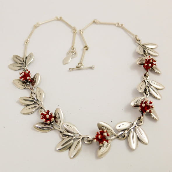 Pohutukawa Silver Necklace, whole, nz jewellery by designer Martyn Milligan Rinopai Golden Bay