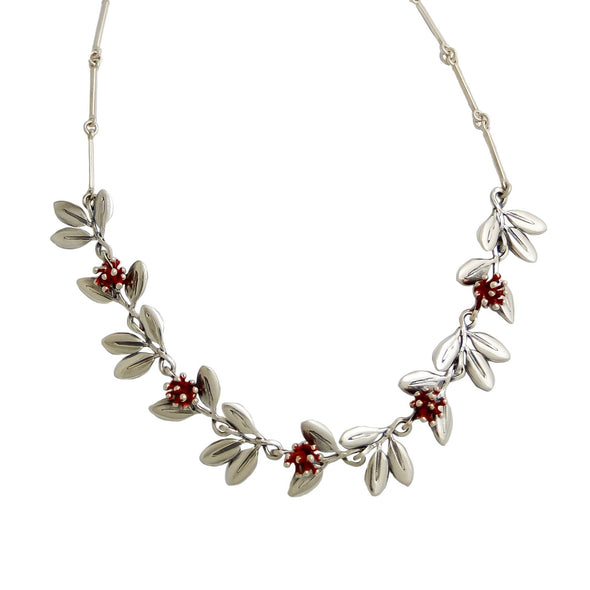 Pohutukawa Silver Necklace, nz jewellery by designer Martyn Milligan Rinopai Golden Bay