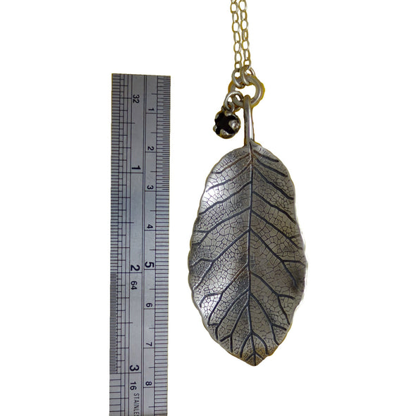 Ruler showing size of Puka Silver Leaf | pendant necklace | nz jewellery