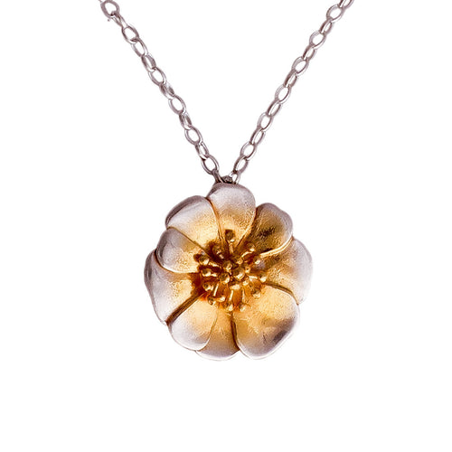 Mt Cook Lilly Silver and Gold necklace by nz jeweller Martyn Milligan. Rinopai, Golden Bay, Nelson