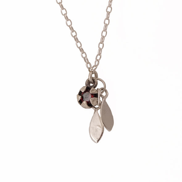 Red Mānuka Seedpod and Leaves Silver necklace by NZ designer Martyn Milligan, Rinopai, Parapara, Golden Bay.