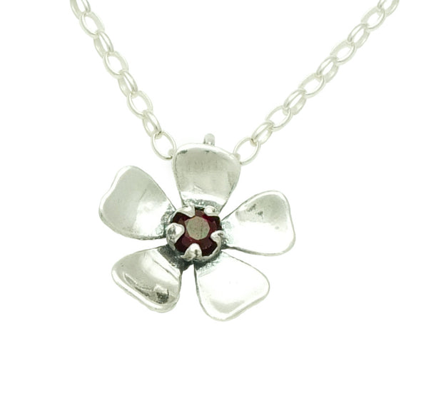 Red Manuka Flower Silver & Garnet Necklace by nz jewellery designer martyn Milligan , Rinopai,