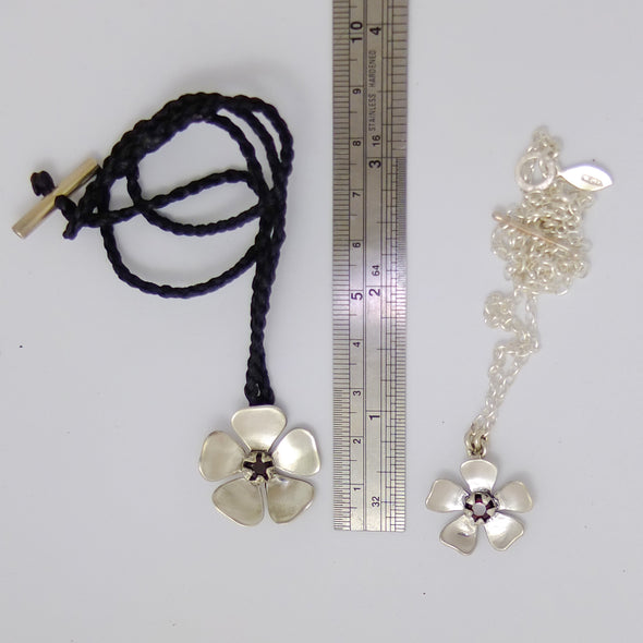 Red Mānuka Flower Necklaces comparison with a ruler | Jewellery nz | Redmanuka