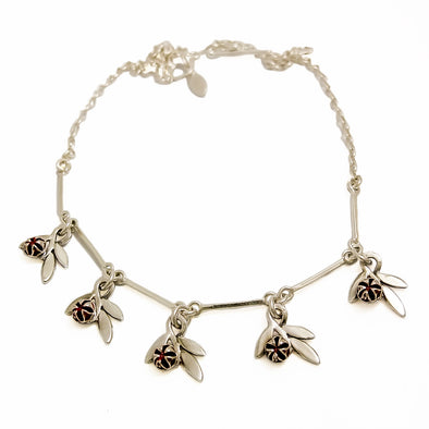 Redmanuka Sprig Silver Garnet Necklace | Jewellery nz | Redmanuka