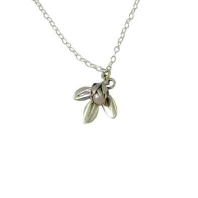Silver Pearl Bud and Leaf Necklace