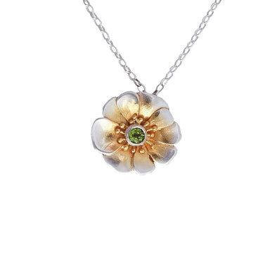 Jewellery nz | Mt Cook Lilly Silver and Peridot Necklace | Redmanuka