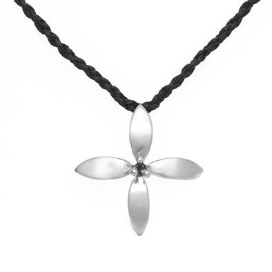 Stirling Silver Summer Flower necklace on hand plaited chord by contemporary nz jeweller Martyn Milligan, Rinopai, Parapara, Golden Bay, Nelson