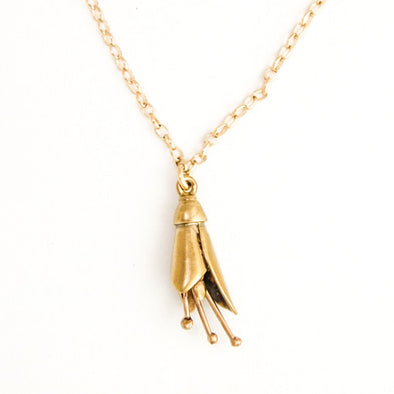 Gold Kowhai Necklace, 9ct Gold by nz jewellery designer Martyn Milligan