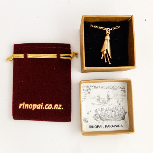 Gold Kowhai Flower necklace Gift boxed by nz jewellery artist Martyn Milligan