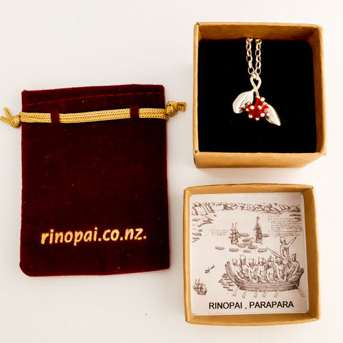 Pohutukawa Blossom Silver Necklace in a Gift Box, by jewellery nz designer Martyn Milligan for Redmanuka