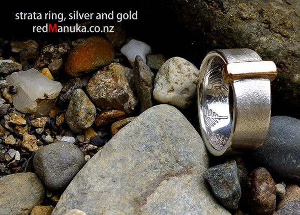 Strata Silver and Red Gold Ring shown on Riverbank| Redmanuka Jewellery nz