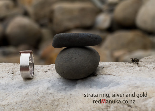 Strata Silver and Gold Ring shown on boulders | Redmanuka Jewellery nz