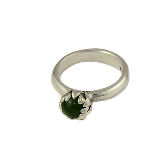 Pounamu Blossom Silver Ring | Redmanuka | nz jewellery, front top view,