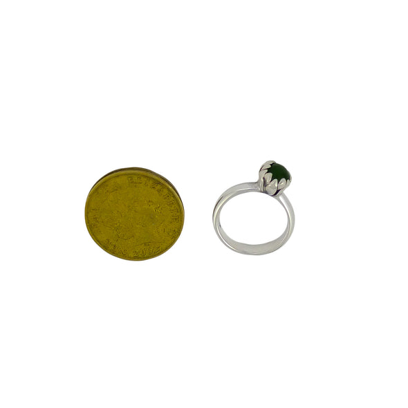 Pounamu Blossom Silver Ring | Redmanuka | nz jewellery top view with 2 dollar coin