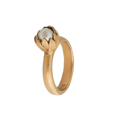Top view of Gold Akoya Pearl Ring | Redmanuka | nz jewellery