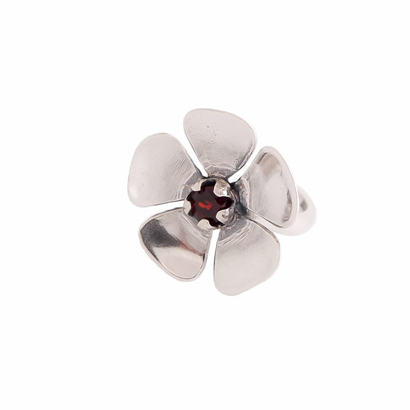 Red Manuka Flower Sterling Silver Ring by Martyn Milligan Rinopai Golden Bay