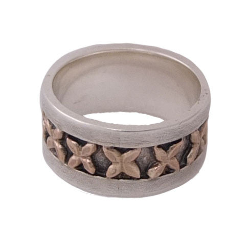 Pacific Cross Ring Sterling Silver and Gold by Martyn Milligan Rinopai Golden Bay
