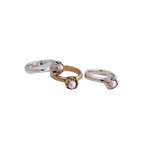 Silver and Gold Akoya Pearl Rings | Redmanuka | nz jewellery
