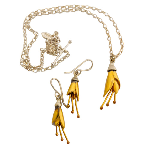 Kowhai Necklace and Earrings, Silver flowers dipped in Yellow Gold by nz jewellery designer Martyn Milligan