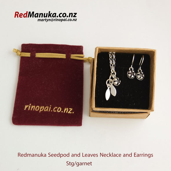 Red Mānuka Seedpod and Leaves Silver necklace and Earrings Gift packed  by NZ designer Martyn Milligan, Rinopai, Parapara, Golden Bay.