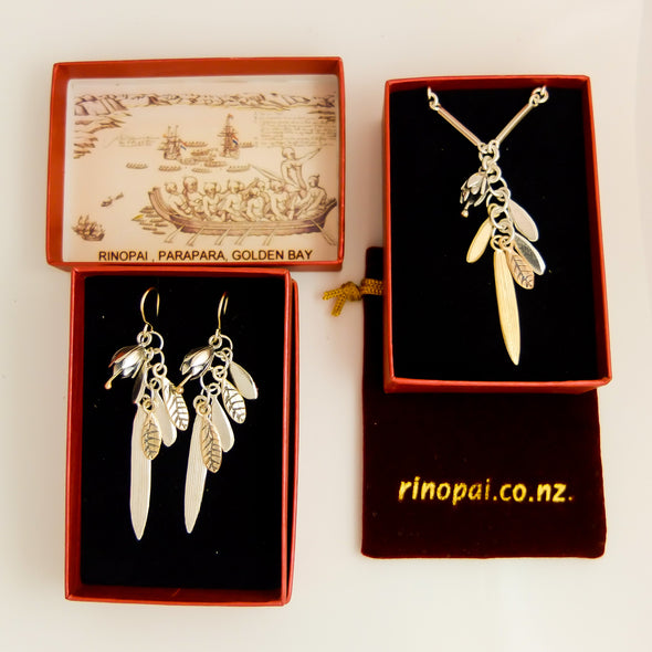 Jewellery nz | Springs Promise Gold and Silver Necklace | Redmanuka in boxes with earrings