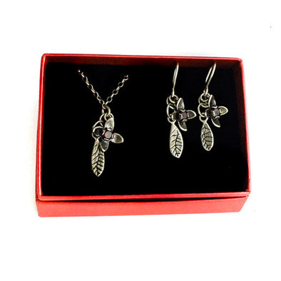 Red Flower Cross Sterling Silver & Garnet Necklace and earrings Boxed Gift set $160