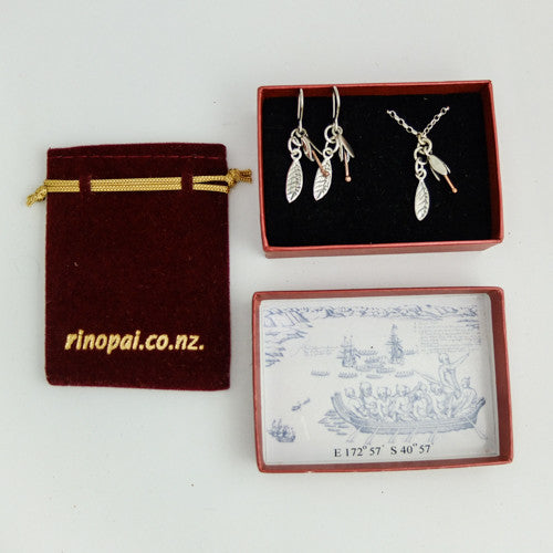 Koromiko Sterling Silver Bud and Leaf Boxed Gift set $150
