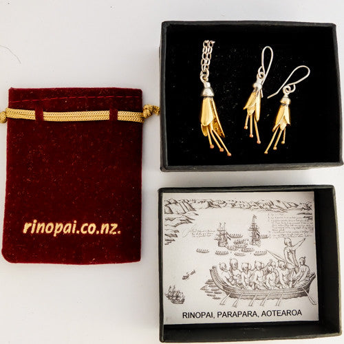 Kowhai Necklace and Earrings Gift Boxed set, Silver flowers dipped in Yellow Gold by nz jewellery designer Martyn Milligan